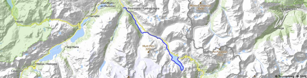 Bernina Freeride (die einfache Variante) nach Pontresina, CH