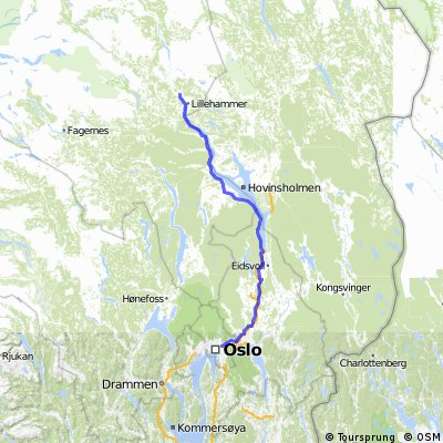 Cycling routes and bike maps in and around Lillehammer Bikemap