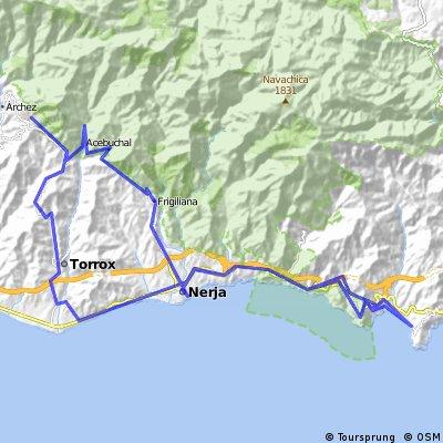 Mtb Flakkee route Cómpeta-Acebuchal-Frigiliana-Nerja-Heradura