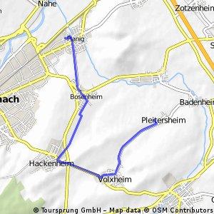 Joggingroute 9,81 KM Planig, Bosenh., Hackenh., Volxh., Pleitersh.