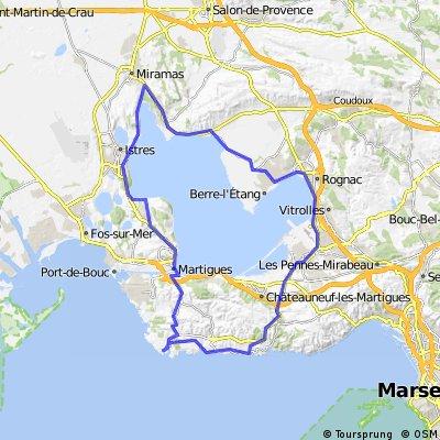 Etang de Berre -> Carro - Martigues - Rognac - Marignane - Ensues - Sausset