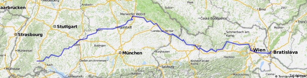 Donauradweg  (Donaueschingen - Bratysława)