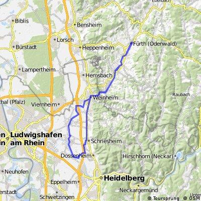 Fürth Odw. - Ladenburg (+ Schleuse Schwabenheim) - Fürth Odw. (saflosie)