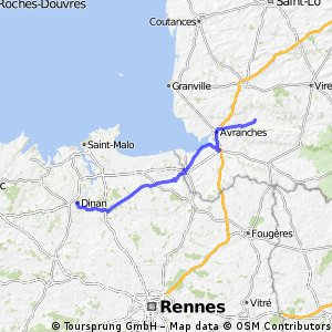 Day 5 Dinan to Brecey (beyond Avaranches (95km) (80km)