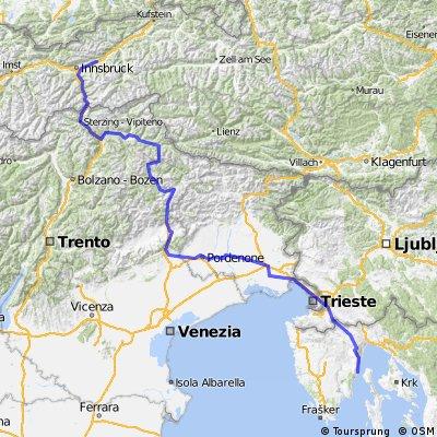 von Wattens in Tirol durch die Dolomiten nach Cres