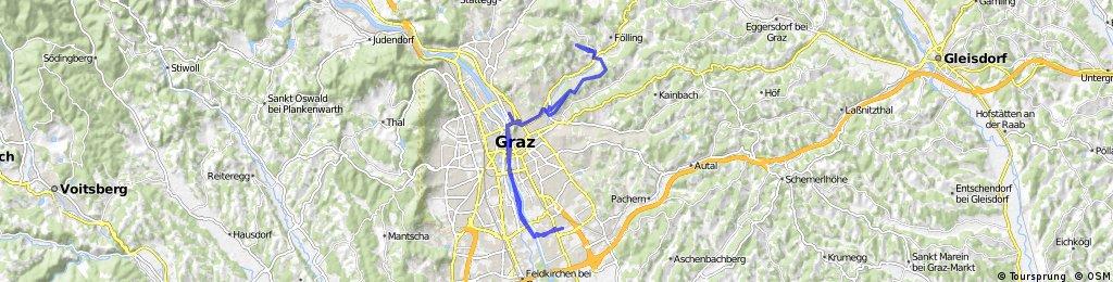 Lengthy ride through Graz