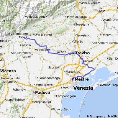 TOUR DEL KHMER : Bassano ( Vittorio )  - Treviso - Portegrandi - Mestre FS ovvero TOUR DEA BICI NOVA