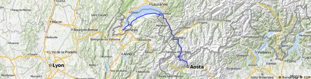 Aoste - Martigny - genève 190km