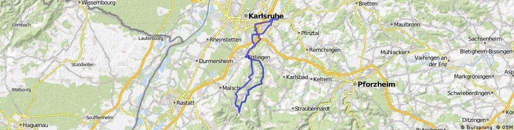 Karlsruhe Grötzingen - Ettlingen - Moosbronn - Ettlingen -Karlsruhe Grötzingen