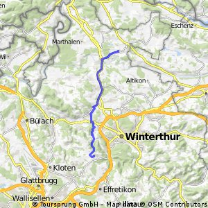 Ausfahrt von Ossingen nach Brütten