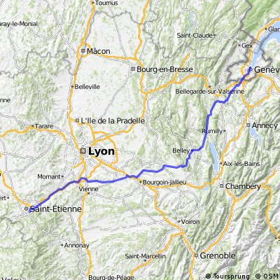 Genf_Bordeaux, 1.Etappe: Genf-St.Etienne