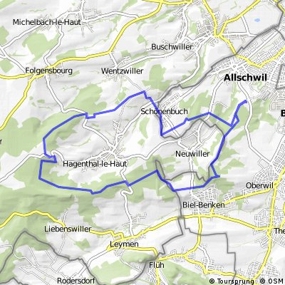 Cycling routes and bike maps in and around Allschwil Bikemap