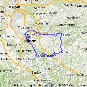 BRT2016-Freitag: An Rhein und Sieg - 105 km Strecke einer Pfeil-Such-Fahrt