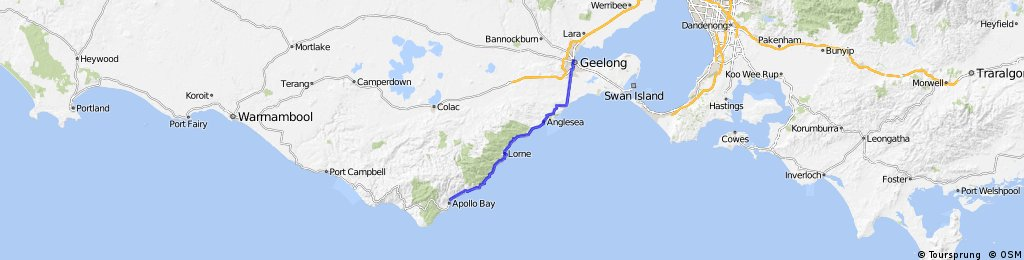 Long ride from Apollo Bay to 吉朗