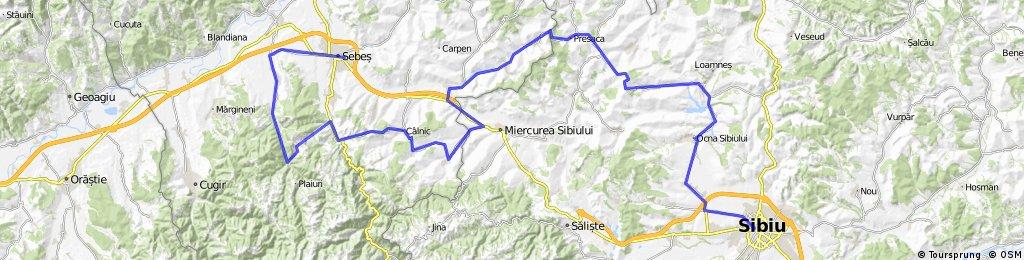 Sebes Alba - Pianu de Jos - Strungari - Rachita - Sebesel - Sasciori - Dumbrava - Calnic - Garbova - Cunta - Boz - Dostad - Presaca - Alamor - Mandra - Ocna Sibiu - Sura Mica - Sibiu.