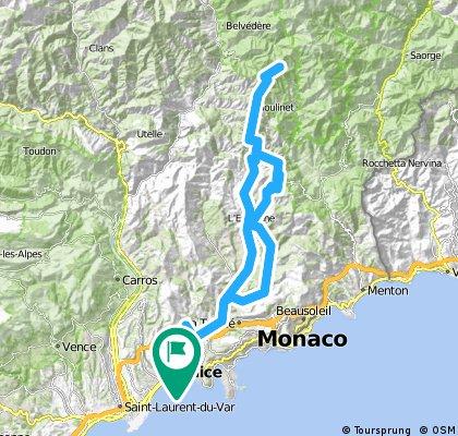 AlpesMaritimes15/6.Etappe: Nizza - Cimiez - Val de Paillon - Col de Nice - Lucéram - Col de Turini - Col de L'Ablé - L'Escarène - Val du Paillon - Nizza