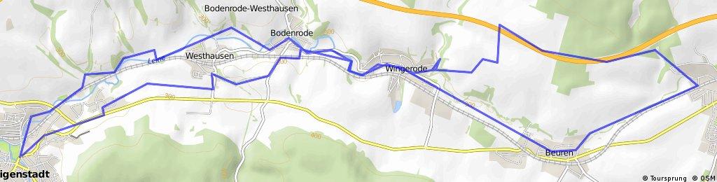Heiligenstadt-Leinefelde_Köhlersgrund-A 38-Wingerode-Leineradweg-Heiligenwstadt