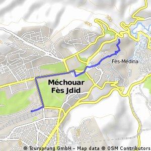 Cesta z vlaku do hotelu ve Fezu pokus pro GPX