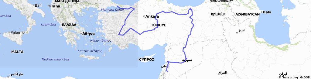Istambul-Göreme-Qalaat Jabaar-Damascus