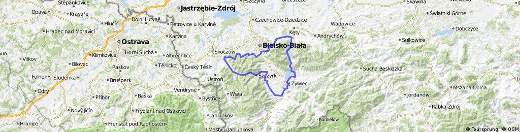 Straconka-Kozy-Porąbka-Oczków-Żywiec-Radziechowy-Szczyrk-Przełęcz Karkoszczonka-Brenna-Jaworze-Straconka