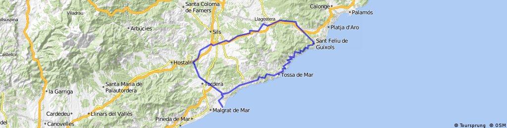Blanes-Sant Feliu-Llagostera-Vidreres-Hostalric-Blanes