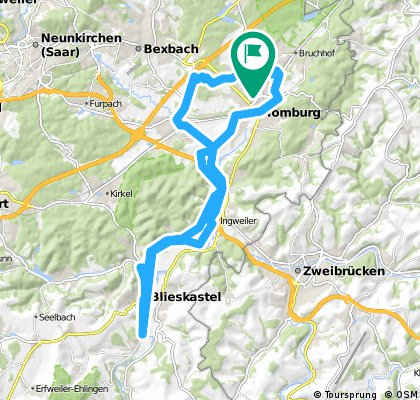40 km RTF-Strecke RF-Homburg Startort Vereinsheim