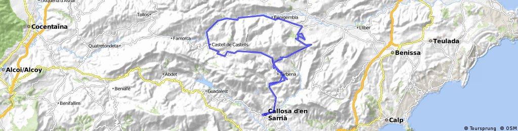 Callosa - Tarbena-Castell- Coll de Rates