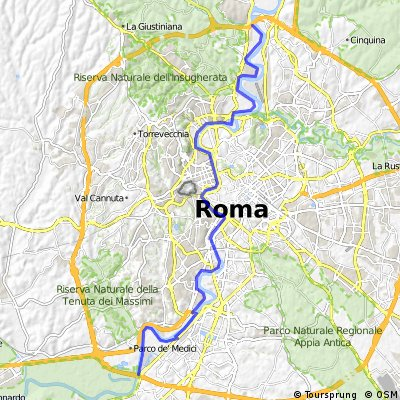 Route cyclable qui traverse Rome.