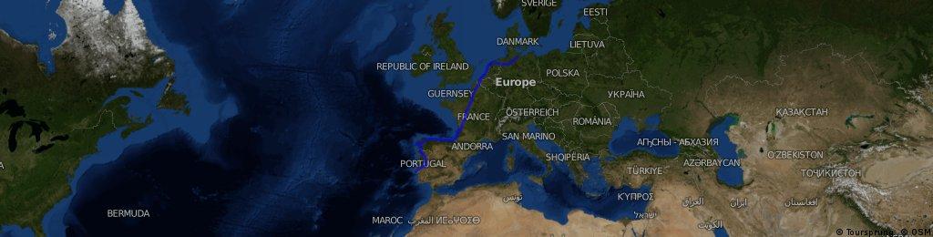Steinbek-Hamburg-Delmenhorst-Haarlem-Brügge-Moliets Plage-Irun-Del Costa-Santiago-San Fransico-Ribadavia-Idhana a Nova-Lissabon