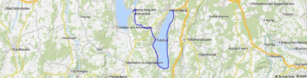 Track from Starnberg, Bahnhofplatz 6 to Herrsching (a Ammersee), Schönbichlstraße 18