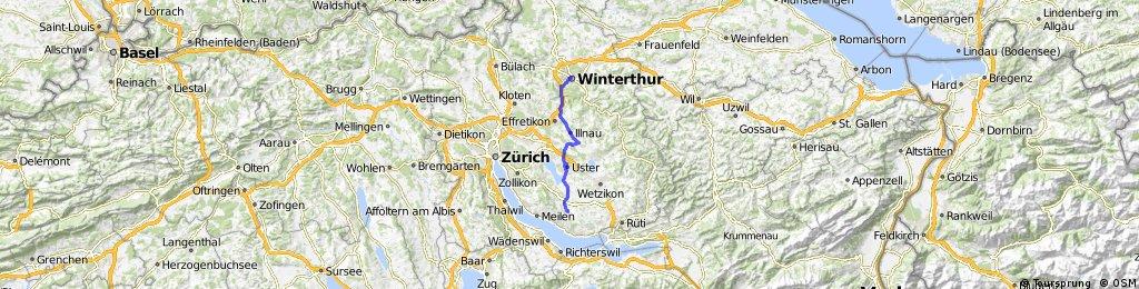 Lange Radrunde von Oetwil am See nach Winterthur