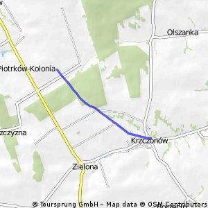 Odcinek szlaku na terenie Gm. Krzczonów