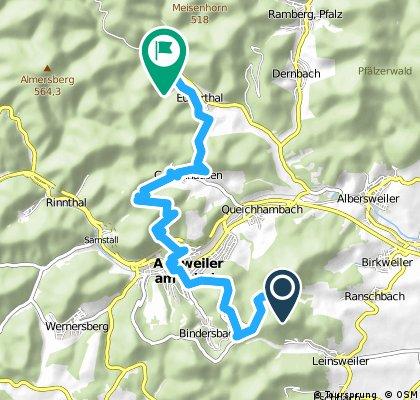 Von Platz Nr. 3 in Leinsweiler zum Platz Nr. 5 nach Eußerthal