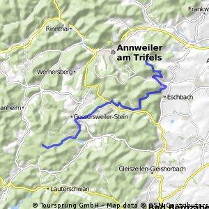 Von Platz Nr. 2 Lindelbrunn zum Platz Nr.  3 nach Leinsweiler