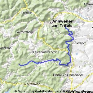 Von Platz Nr. 2 Lindelbrunn nach Platz Nr. 3 Leinsweiler   - 22 km -