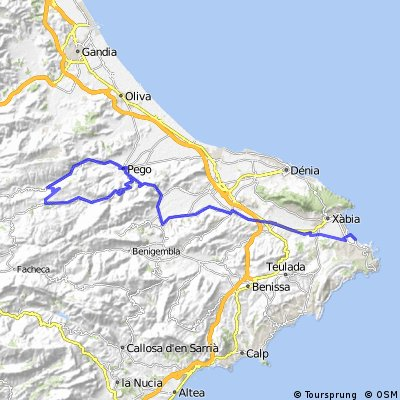 Javea Spain Map.Cycling Routes And Bike Maps In And Around Xabia Bikemap Your