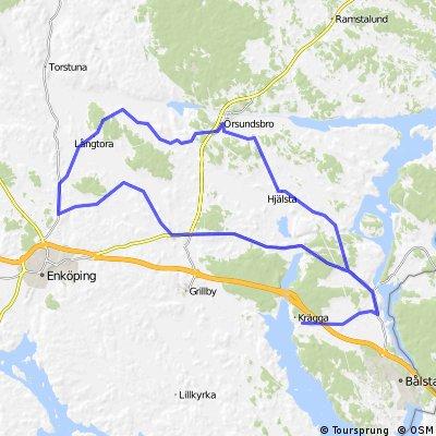 Krägga - Biskopskulla - Enköpingsåsen - Härkeberga - Krägga 78 km