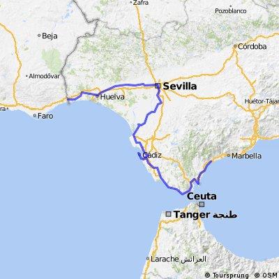 Estepona to Portuguese Border (Huelva Ferry)