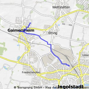 Brief bike tour from Gaimersheim to Ingolstadt