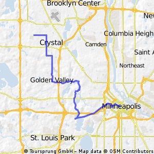 B2B00050 55428 > 55402 via Brunswick, Golden Valley Road, Theo Wirth, and Cedar Lake Trail