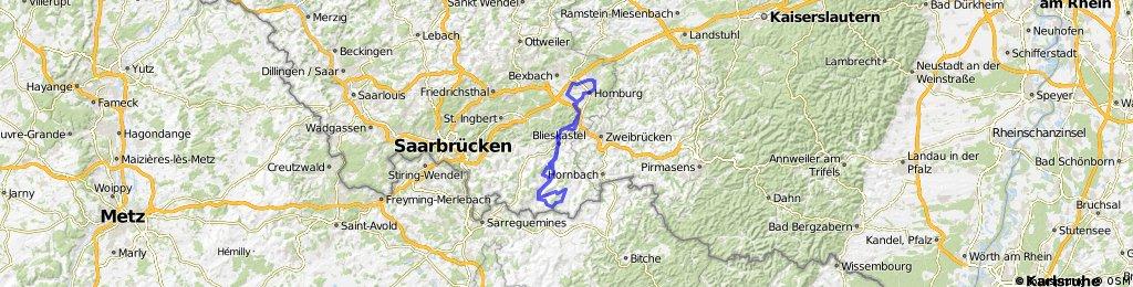 70 km RTF-Strecke RF-Homburg Startort Vereinsheim