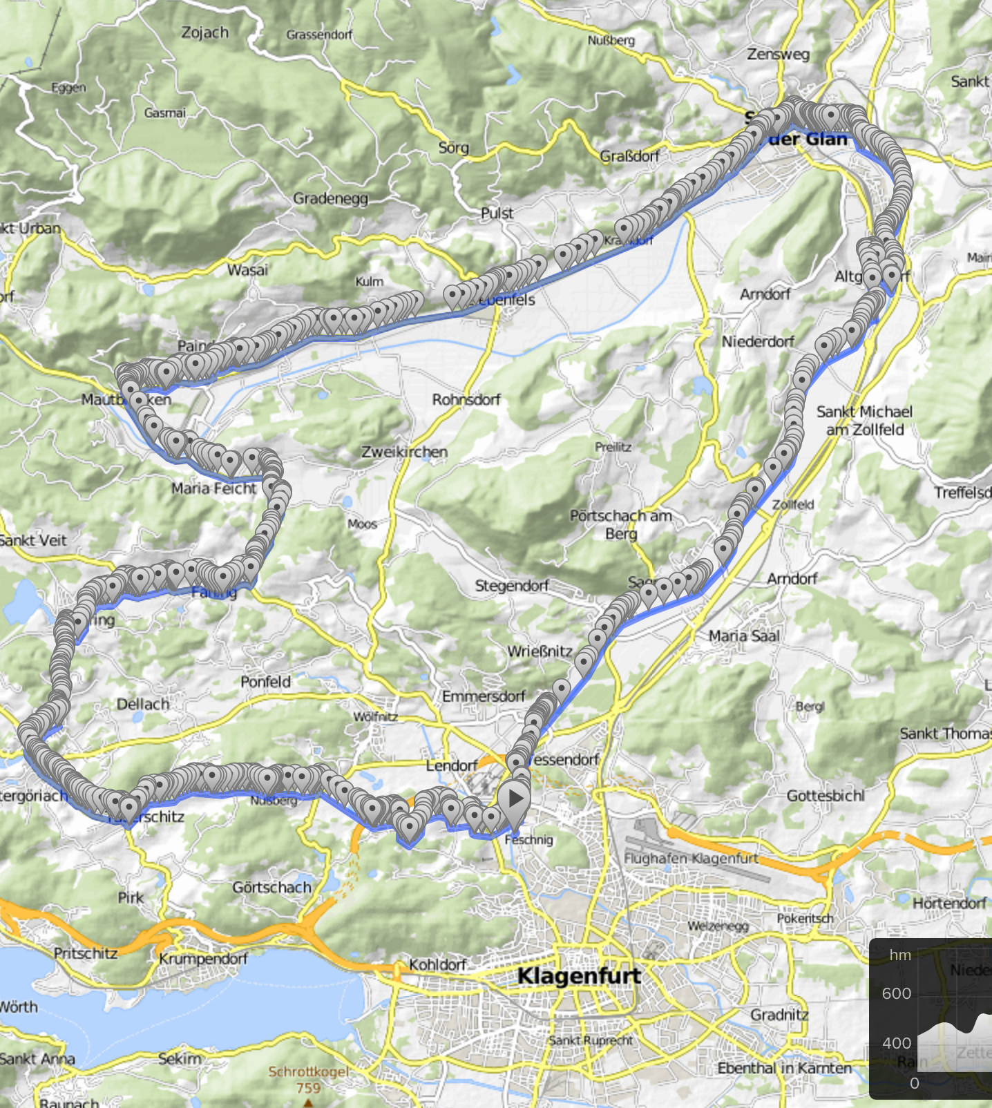 Cycling routes and bike maps in and around Klagenfurt Bikemap