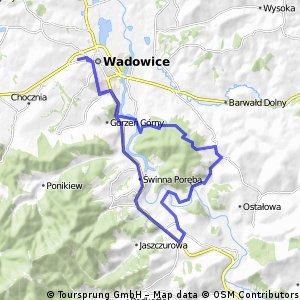 Wokół Jaroszowickiej Góry: szczyt Bystra, Łękawica, Zagórze, dno Zbiornika Świnna Poręba, Wadowice.