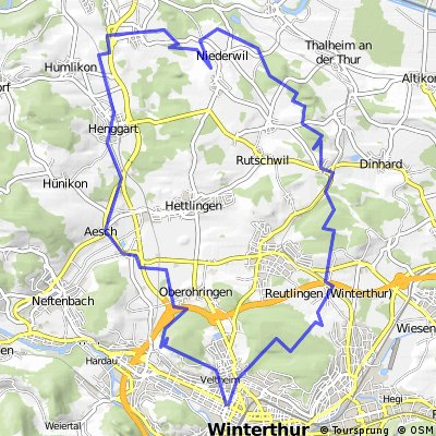 Cycling routes and bike maps in and around Winterthur Bikemap