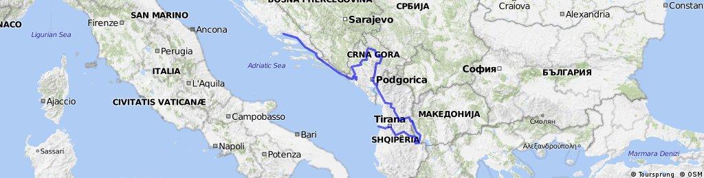 Croatie - Montenegro - Albanie