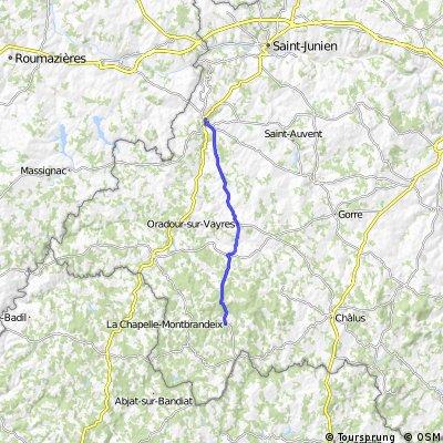 Rochechouart to La Chapelle-Montbradeix