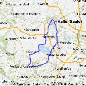 Halle Freyburg über Mücheln und Merseburg