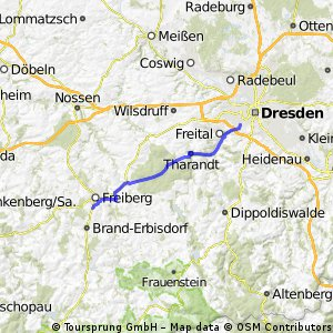 Anfahrt von Dresden zur Freiberger RTF