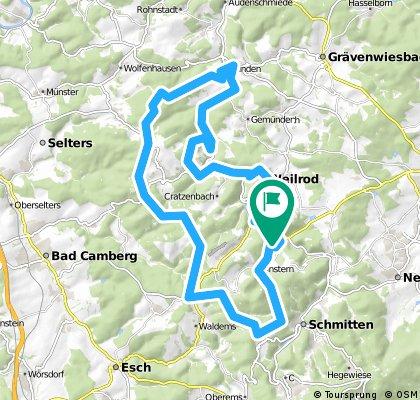 CTF Altweilnau 2016, mittlere Route ca 50 km