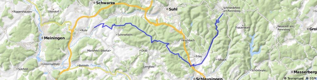Dillstädt-Skihang Schmiedefeld-Schneekopf-Gehlberger Grund-Schneekopf-Arlesberg-Mönchshof-Freibachtal-Wegscheide-Suhl-Dillstädt (Teil 1)